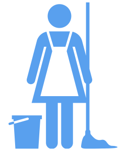 Maid with mop and bucket